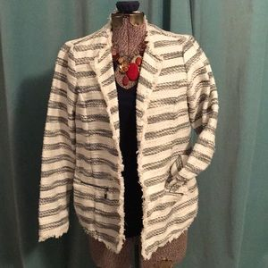 Jackets & Blazers - Maternity white and blue striped blazer